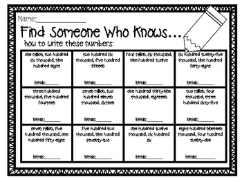 Find Someone Who Knows...Two Activities with Numbers through Millions