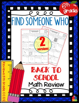 Find Someone Who Math - 6th Grade BACK TO SCHOOL