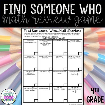 Find Someone Who Math Review Game (4th Grade)