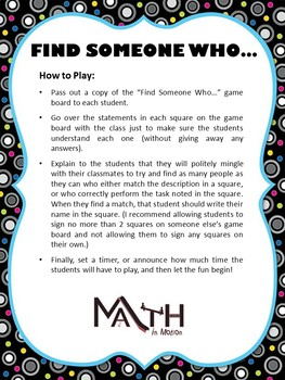 Find Someone Who... (Math Version)