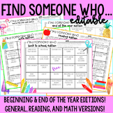 Find Someone Who Bingo (Back to School and End of the Year) [EDITABLE]