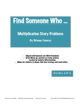 Find Someone Who ... Multiplication Story Problems