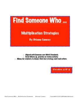 Find Someone Who ... Multiplication Strategies