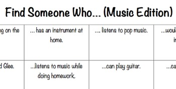 Find Someone Who- Music Edition