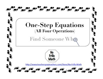 Find Someone Who -- One Step Equations (All Operations)