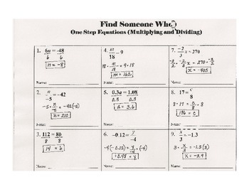 Find Someone Who -- One Step Equations (Multiplication and Division)