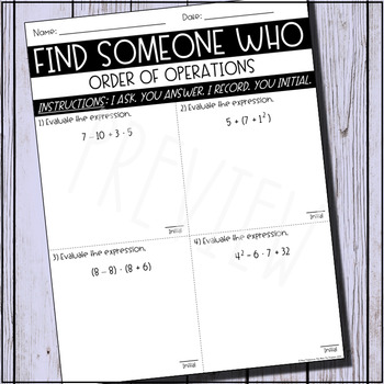 Find Someone Who (Order of Operations)