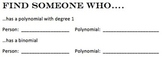 Find Someone Who Polynomial Vocabulary Game