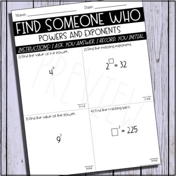 Find Someone Who (Powers & Exponents)