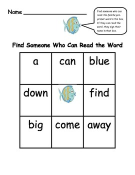 Find Someone Who - Fish Theme Collaborative Game Using Dolch PrePrimer Words
