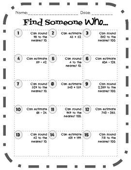 Find Someone Who - Rounding