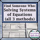 Find Someone Who . . . Solving Systems of Equations (all three methods)