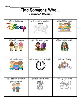 Find Someone Who (Summer/End of Year Theme) Cooperative Learning Activity
