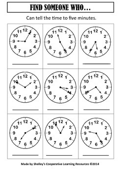 Find Someone Who: Telling Time To Five Minutes
