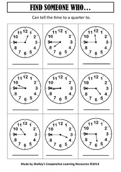 Find Someone Who: Telling Time To Quarter Hour