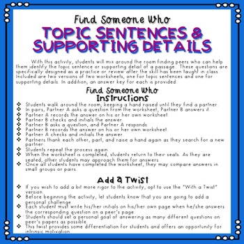 Topic Sentence and Supporting Details - Find Someone Who