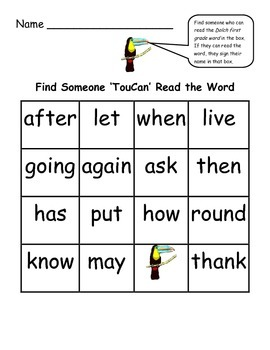Find Someone Who - Toucan Theme Collaborative Game Using Dolch First Grade Words