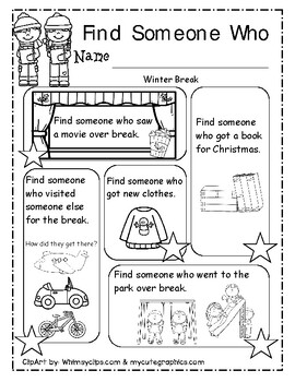 Find Someone Who, Winter Break