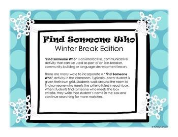 Find Someone Who Winter Break Edition