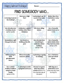 Find Someone Who... (Winter Holidays Version)