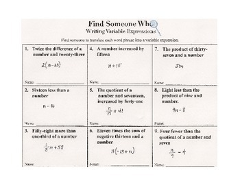 Find Someone Who -- Writing Variable Expressions