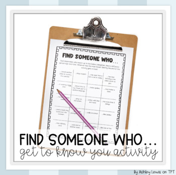 First Day Activity- Find Someone Who...