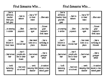 Find Someone Who... first day activity