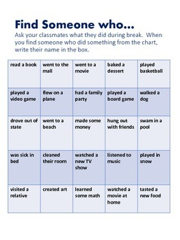 Find Someone Who... for after a Break or Speaking Activity for ESL