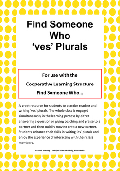 Find Someone Who: 'ves' Plurals