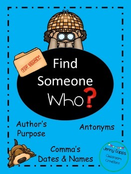 Find Someone Who with Antonyms, Author's Purpose, and Comma's