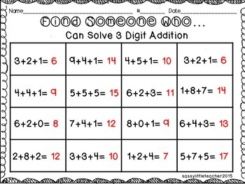 Find Someone Who...3 Digit Addition