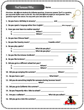Find Someone Who...Ice Breaker Activity