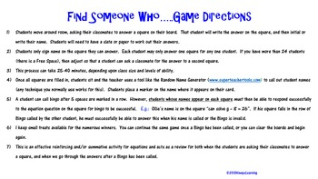 Find Someone Who....Knows Equations Game!