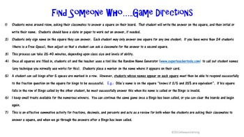Find Someone Who....Knows Fractions, Decimals, and Percents Game!