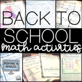 Back to School Math Activities- Distance Learning