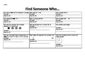 Find Someone Who...Math