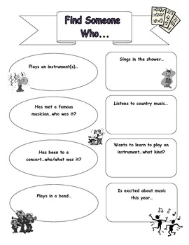 Find Someone Who...(Music Room Ice Breaker for Beginning o
