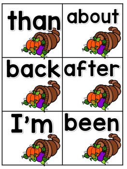 Find That Turkey! Sight Word Game