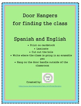 Find The Class Door Hangers in Spanish and English