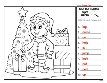 Find The Hidden Sight Words - Christmas Edition - Three Levels Included!