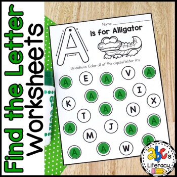 Find The Letter: Alphabet Recognition Worksheets