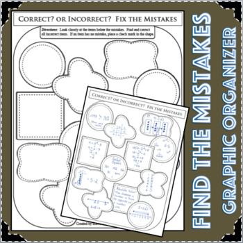 Find The Mistakes Graphic Organizer Correct Incorrect Cross Curricular Activity