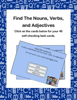 Find The Nouns, Verbs, and Adjectives Boom Cards