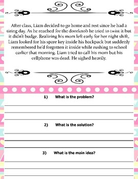 Find The Problem/Solution & Main Idea Worksheets