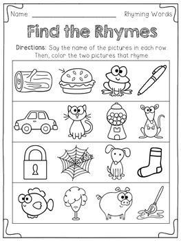 Find The Rhyme Freebie!