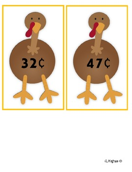 Find Turkey's Feathers making equivalents amount of money thanksgiving theme