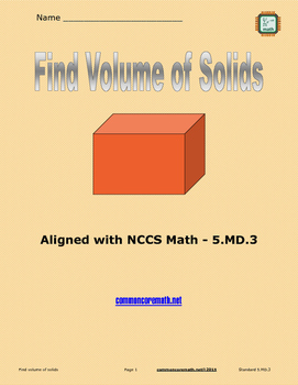 Find Volume of Cubes - 5.MD.3