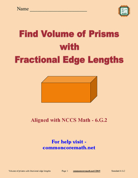 Find Volume of Prisms with Fractional Edge Lengths - 6.G.2