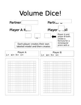 Volume Partner Dice Game Freebie