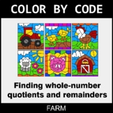 Find Whole-Number Quotients and Remainders - Color by Code - Farm